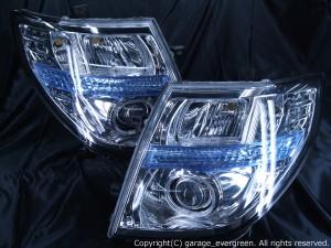 ■日産 E51系エルグランド 中期/後期  E51/ME51/MNE51/NE51 HID用 AFS仕様車用 車種別専用 純正ドレスアップヘッドライト ■4連LEDイカリング&高輝度白色LED44発増設 仕様