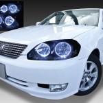 トヨタ JZX110/JZX115/GX110/GX115 110系マークⅡ 前期 純正HID(ディスチャージ・キセノン)車用 4連LEDイカリング&インナーブラッククロム&ウィンカークリア
