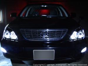 トヨタ 30系 ハリアー HID車用 AFS有  ACU30W ACU35W MCU30W MCU35W GSU30W GSU35W 4連LEDイカリング&インナーブラッククロム&高輝度白色LED16発増設