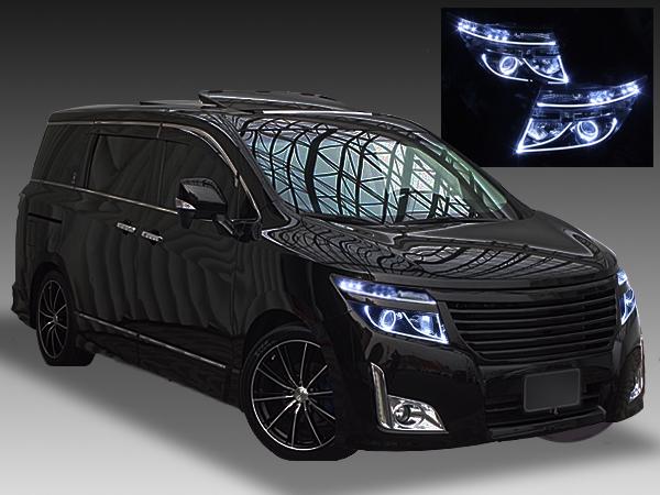 日産 TE52/PE52/TNE52/PNE52 E52系 エルグランド 前期 純正HID車 AFS無し車用 2連LEDイカリング&インナーブラッククロム&高輝度白色LED12発増設&LEDアクリルイルミファイバー