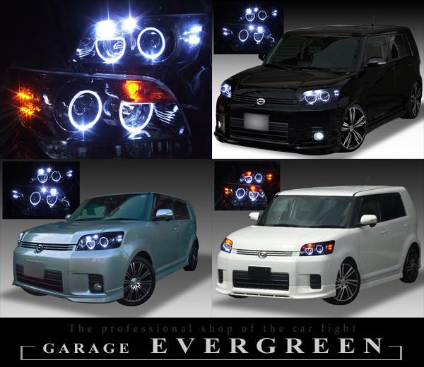 トヨタ E15系 カローラルミオン 前期/後期 純正HID車 純正ドレスアップヘッドライト 4連LEDイカリング&高輝度白色LED18発増設&高輝度橙色LED16発増設&インナーブラッククロム