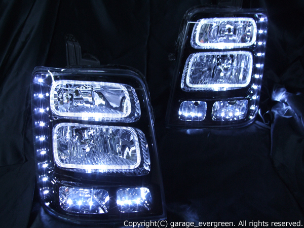 スズキ DA64W エブリィワゴン 純正HID車 純正ドレスアップヘッドライト 4連LEDイカリング&高輝度白色LED30発増設&インナーブラッククロム