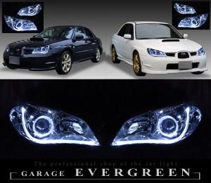 スバル GG/GD系 インプレッサ 後期 F/G型 純正HID車 純正ドレスアップヘッドライト 2連LEDイカリング&LEDアクリルイルミファイバー