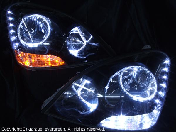 トヨタ UCF30/UCF31 セルシオ 前期 TOYOTA CELSIOR (2000.08-2003.07) 純正ドレスアップヘッドライト 4連LEDイカリング&インナーブラッククロム&高輝度白色LED24発増設&高輝度橙色LED12発増設 仕様