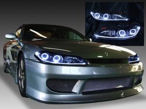 日産 S15 シルビア 純正HID車用 NISSAN SILVIA (1999.01-2002-08) 純正ドレスアップヘッドライト 4連LEDイカリング&インナーブラッククロム&LEDアクリルイルミファイバー&ウィンカークリア 仕様