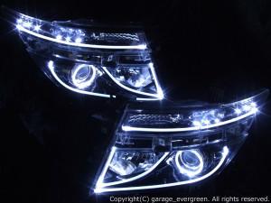 日産 E52系 エルグランド 前期 TE52/PE52/TNE52/PNE52 純正HID車用 AFS有り車用 純正ドレスアップヘッドライト 2連LEDイカリング&インナーブラッククロム&高輝度白色LED12発増設&LEDアクリルイルミファイバー 仕様