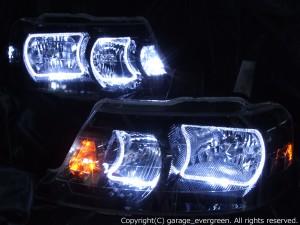 ホンダ RF3/4/5/6/7/8系 ステップワゴン 後期 純正HID車 AFS無し車用 純正ドレスアップヘッドライト 4連LEDイカリング&高輝度白色LED10発増設&高輝度橙色LED10発増設&インナーブラッククロム 仕様