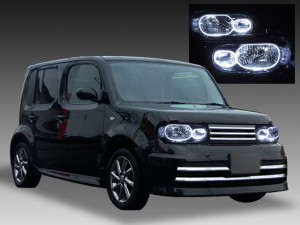 日産 Z12キューブ CUBE ハロゲン車用 純正ドレスアップヘッドライト 4連高輝度LEDイカリング&純正インナーブラック仕様
