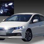 ホンダ インサイト 前期・後期 純正HID車 HONDA ZE2/ZE3 INSIGHT 純正ドレスアップヘッドライト 2連LEDイカリング&高輝度白色LED8発増設&インナーブラッククロム