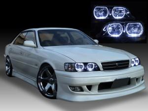 トヨタ 100系 チェイサー 純正HID車用 TOYOTA JZX100 CHASER 純正ドレスアップヘッドライト 4連LEDイカリング&インナーブラッククロム