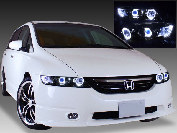ホンダ RB1/2 オデッセイ 前期/後期 AFS有 純正HID車用 HONDA RB1/RB2 ODYSSEY 純正ドレスアップヘッドライト 4連LEDイカリング&高輝度白色LED12発増設&インナーブラッククロム