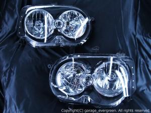 ダイハツ L150系/L160系 ムーヴ カスタム 後期 純正HID車用 L150S L160S L152S MOVE CUSTOM 純正ドレスアップヘッドライト 4連LEDイカリング&高輝度白色LED8発増設