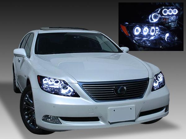 レクサス LS600h/LS600hL 前期 プリクラッシュ無し車または前方のみプリクラッシュ有り車用 純正ドレスアップヘッドライト 8連高輝度白色LEDイカリング