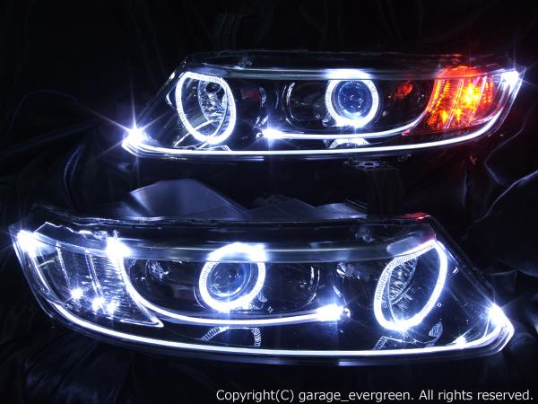 ホンダ RB1/2 オデッセイ 前期/後期 AFS有 純正HID車用 純正ドレスアップヘッドライト 4連LEDイカリング&LEDアクリルイルミファイバー&高輝度白色LED6発増設&高輝度橙色LED6発増設&インナーブラッククロム