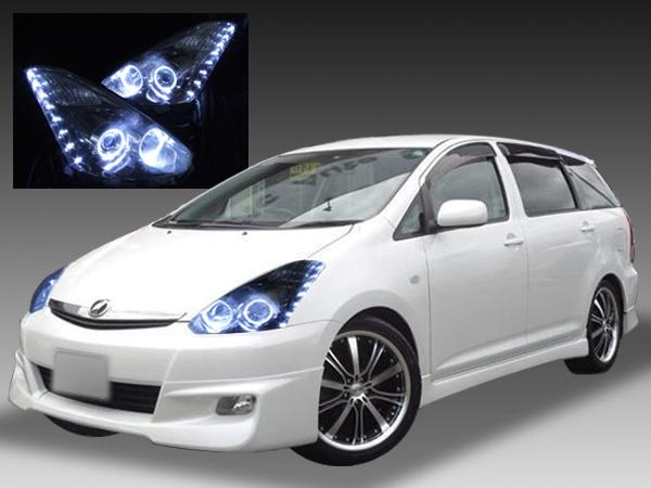 トヨタ 10系ウィッシュ 後期 純正ドレスアップヘッドライト4連LEDイカリング&高輝度白色LED24発増設&インナーブラッククロム