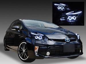 トヨタ ZVW30系 プリウス 後期 純正LEDロービーム車用 純正ドレスアップヘッドライト 4連LEDイカリング&超高輝度白色LED12発増設&純正ポジションLED色替え加工&インナーブラッククロム4連LEDイカリング&超高輝度白色LED12発増設&純正ポジションLED色替え加工&インナーブラッククロム