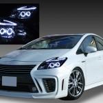 トヨタ ZVW30系 プリウス 後期 純正LEDロービーム車用 純正ドレスアップヘッドライト 4連LEDイカリング&超高輝度白色LED12発増設&純正ポジションLED色替え加工&インナーブラッククロム