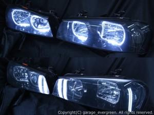 日産 R34系 スカイライン/GT-R 後期 純正HID車用 純正ドレスアップヘッドライト 4連LEDイカリング&インナーブラッククロム