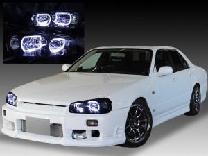 日産 R34系 スカイライン/GT-R 後期 純正HID車用 純正ドレスアップヘッドライト 4連LEDイカリング&インナーブラッククロム日産 R34系 スカイライン/GT-R 後期 純正HID車用 純正ドレスアップヘッドライト 4連LEDイカリング&インナーブラッククロム