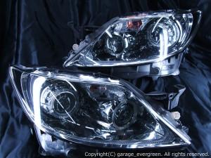 レクサス LS460 前期 プリクラッシュ無し車または前方のみプリクラッシュ有り車用 純正ドレスアップヘッドライト 4連LEDイカリング&サイドマーカーブラッククロム&高輝度白色LED24発増設&高輝度橙色LED24発増設