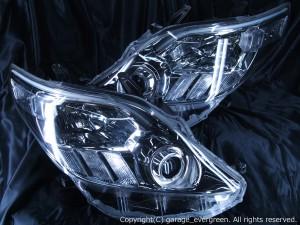 トヨタ 20系 アルファード/アルファードハイブリッド前期/後期  AFS無車用 純正ドレスアップヘッドライト 2連LEDイカリング&高輝度白色LED20発増設&高輝度橙色LED8発増設&LEDアクリルイルミファイバー