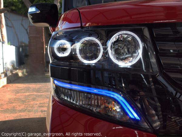 ホンダ JF1/JF2 N BOX カスタム 純正HID車用 純正ドレスアップヘッドライト 6連LEDイカリング&インナーブラッククロム 仕様