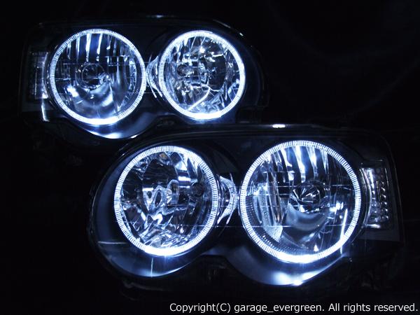 ダイハツ L150系/L160系 ムーヴ カスタム 前期 純正HID車用 純正ドレスアップヘッドライト 4連LEDイカリング 仕様