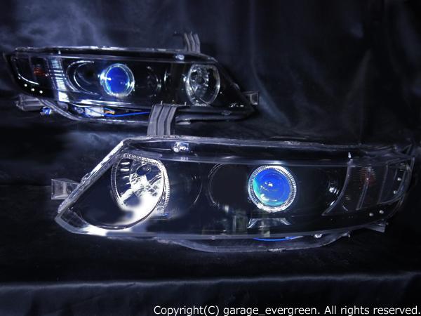 ホンダ RB1/2 オデッセイ 前期/後期 AFS有 純正HID車用 純正ドレスアップヘッドライト 4連LEDイカリング&高輝度白色LED12発増設&インナーブラッククロム