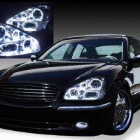 日産 50系シーマ 中期/後期 純正HID車・AFS有 純正ドレスアップヘッドライト 8連高輝度白色LEDイカリング
