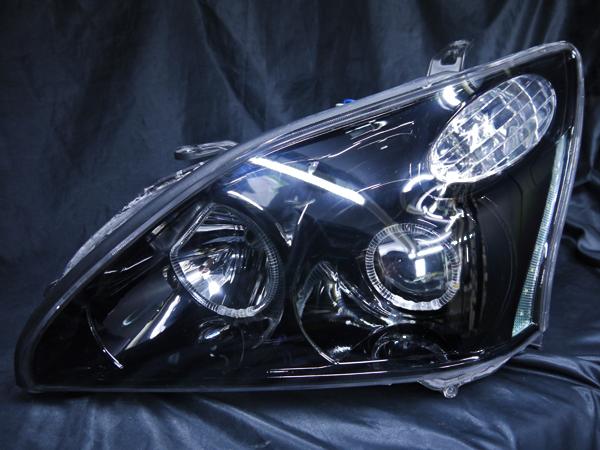 トヨタ 30系 ハリアー 純正HID車用 AFS有 純正ドレスアップヘッドライト 4連LEDイカリング&高輝度白色LED16発増設&インナーブラッククロム