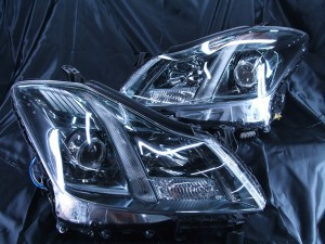 現物加工 200系クラウンアスリート LEDイカリングヘッドライト