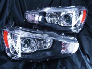 現物加工 ランサーエボリューションX  ターコイズアイ&LEDイカリングヘッドライト