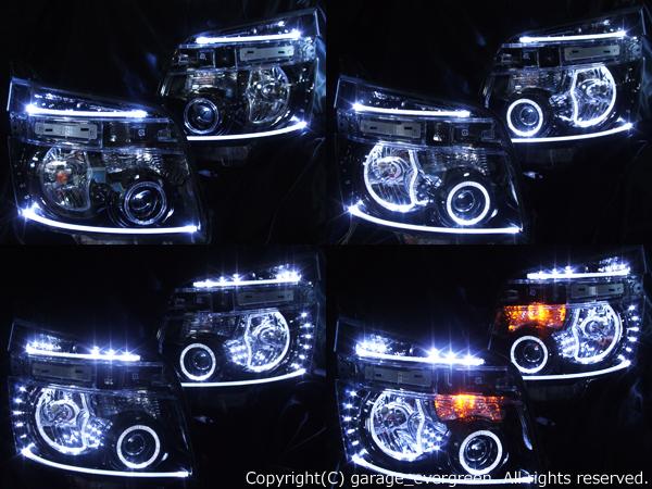 トヨタ 70系ヴォクシー VOXY 前期 純正HID車用 純正ドレスアップヘッドライト 4連LEDイカリング&超高輝度白色LED36発増設&超高輝度橙色8発増設&LEDアクリルイルミファイバー&インナーブラッククロム