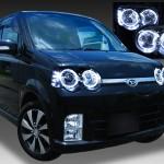ダイハツ L150系/L160系 ムーヴ カスタム 後期 純正HID車用 純正ドレスアップヘッドライト 4連LEDイカリング&高輝度白色LED8発増設