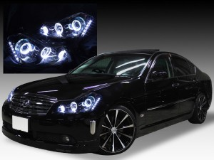 日産 Y50フーガ GT系 純正HID車用 純正ドレスアップヘッドライト 6連LEDイカリング&超高輝度白色LED12発増設&インナーブラッククロム&サイドブラッ