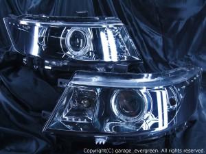 スズキ MH23S ワゴンRスティングレー 前期/後期 純正HID車用 純正ドレスアップヘッドライト LEDイカリング&超高輝度白色LED20発増設