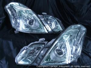 トヨタ マークⅡ ブリット 前期 純正HID車用 純正ドレスアップヘッドライト 4連LEDイカリング&高輝度白色LED24発増設&高輝度橙色LED24発増設&ウィンカークリア