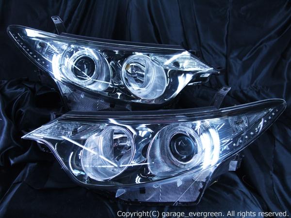 トヨタ 50系 エスティマ 前期 純正HID車用 AFS無し車用 純正ドレスアップヘッドライト 4連LEDイカリング&超高輝度白色LED18発増設&超高輝度橙色LED12発増設