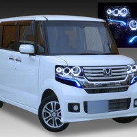 ホンダ JF1/JF2 N BOX カスタム 純正HID車用 純正ドレスアップヘッドライト 純正青色LEDイルミライン 6連高輝度白色LEDイカリング