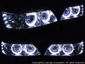 日産 C35ローレル 後期 メダリスト 純正HID車用 純正ドレスアップヘッドライト 4連LEDイカリング&超高輝度白色LED8発増設