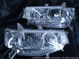 ダイハツ L350S/L360S タントカスタム  レベリングモーター無車用 純正ドレスアップヘッドライト 4連LEDイカリング&超高輝度白色LED8発増設