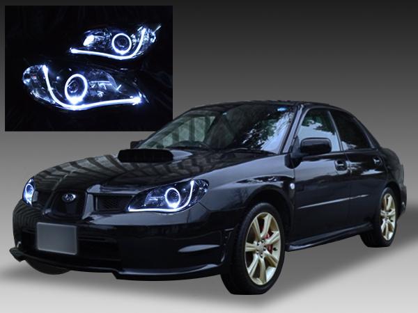 ■スバル GD/GG系 インプレッサ後期 F型・G型(鷹目型)HID車用 純正ドレスアップヘッドライト 2連LEDイカリング&インナーブラッククロム&LEDアクリルイルミファイバー
