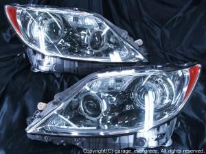 レクサス LS460 前期 プリクラッシュ無し車または前方のみプリクラッシュ有り車用 純正ドレスアップヘッドライト 4連LEDイカリング&高輝度白色LED24発増設&高輝度橙色LED24発増設