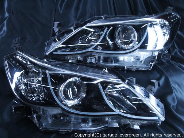 トヨタ 130系 マークX 前期 純正HID車用 AFS無車用 純正ドレスアップヘッドライト 2連白色LEDイカリング&超高輝度白色LED12発増設&LEDアクリルWイルミファイバー&インナーブラッククロム