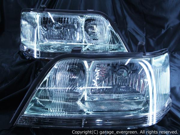 トヨタ 17系 クラウン マジェスタ 前期/後期 全年式 全グレード 純正ドレスアップヘッドライト 4連スクエアLEDイカリング&超高輝度白色LED20発増設&超高輝度橙色LED20発増設&ウィンカークリア