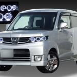 ホンダ JE1/JE2 ゼストスパーク 純正HID車用 純正ドレスアップヘッドライト 連高輝度白色LEDイカリング