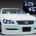 トヨタ 120系 マークX 前期 純正HID車用 AFS無し車用 純正ドレスアップヘッドライト 6連LEDイカリング&インナーブラッククロム