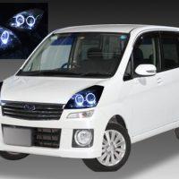 スバル RN1/2系 ステラ カスタム 純正HID車用 純正ドレスアップヘッドライト 超高輝度白色LED4連イカリング&インナーブラッククロム