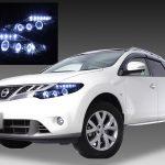 日産 Z51系 ムラーノ 純正HID車用 AFS無し車用 純正ドレスアップヘッドライト 6連LEDイカリング&超高輝度白色LED12発増設&サイドマーカーブラック