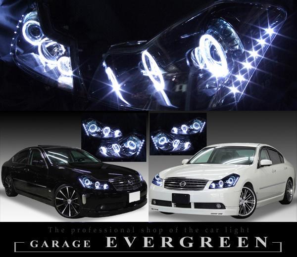 日産 Y50フーガ 250GT 前期 純正ハロゲンロービーム車用  純正ドレスアップヘッドライト 6連LEDイカリング&超高輝度白色LED12発増設&インナー/サイドマーカー フルブラッククロム日産 Y50フーガ 250GT 前期 純正ハロゲンロービーム車用  純正ドレスアップヘッドライト 6連LEDイカリング&超高輝度白色LED12発増設&インナー/サイドマーカー フルブラッククロム